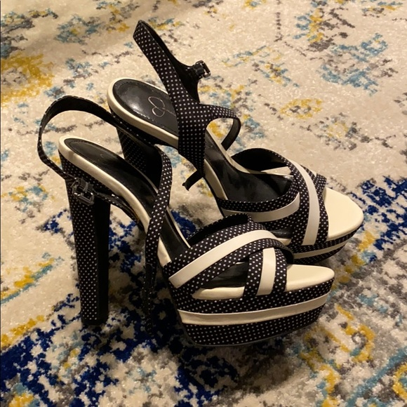 Jessica Simpson Shoes - Blue and white heels